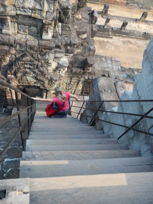 Very steep steps to the top of the Baphuon at Angkor Thom