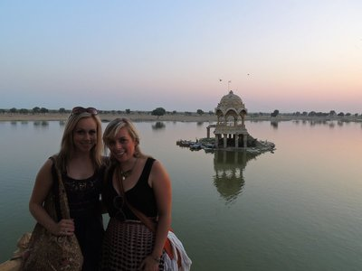 Us at the reservoir in Jaisalmer at sunset