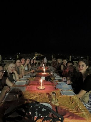 The group at our fancy rooftop restaurant