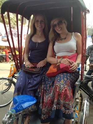 Us in a cycle rickshaw in Varanasi