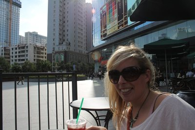 Jo at Starbucks near H&M in Kunming