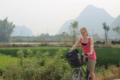 Tam on the cycle back to Yangshuo from Luigong