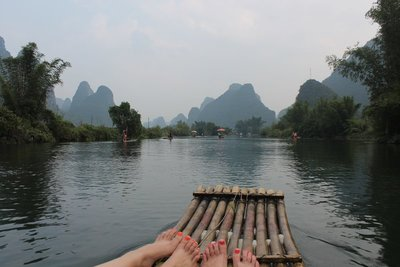 Us on an actual (peaceful) bamboo raft!