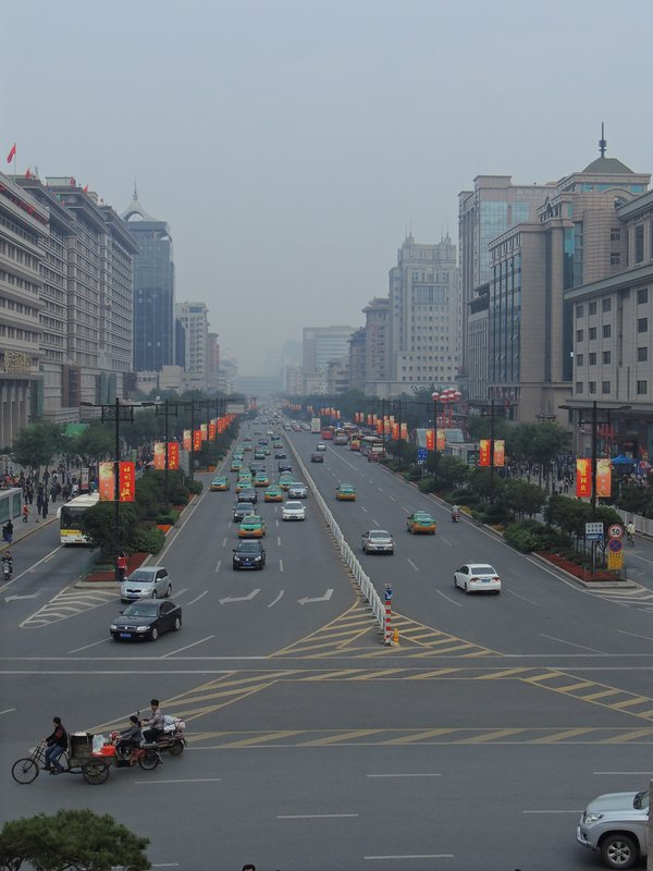 Smog in Xi'an - view from the Bell Tower