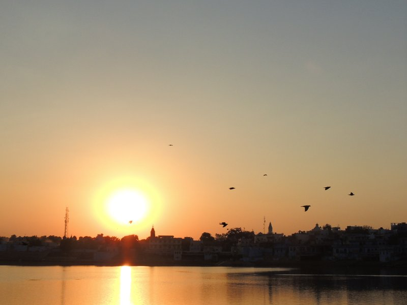 Sunset over the lake in Pushkar