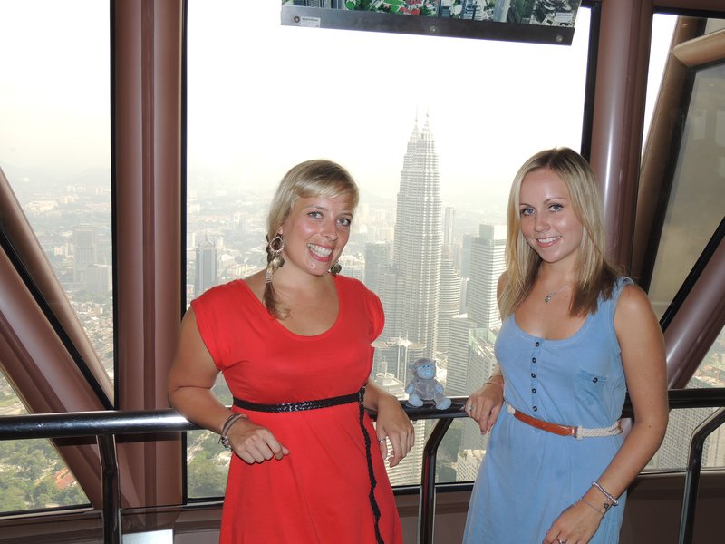 Jo, Tam and Patch at the KL Tower, with the Petronas Towers in the background