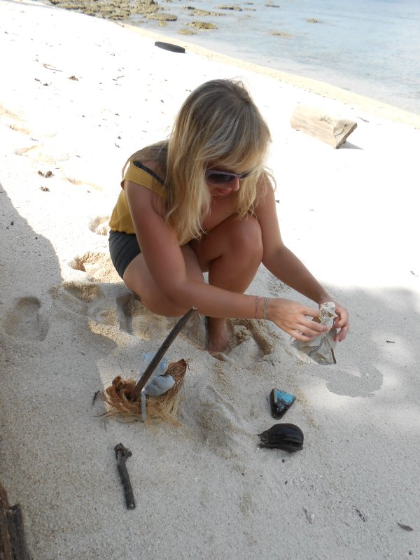 Jo playing on the beach on Turtle Island in Borneo!