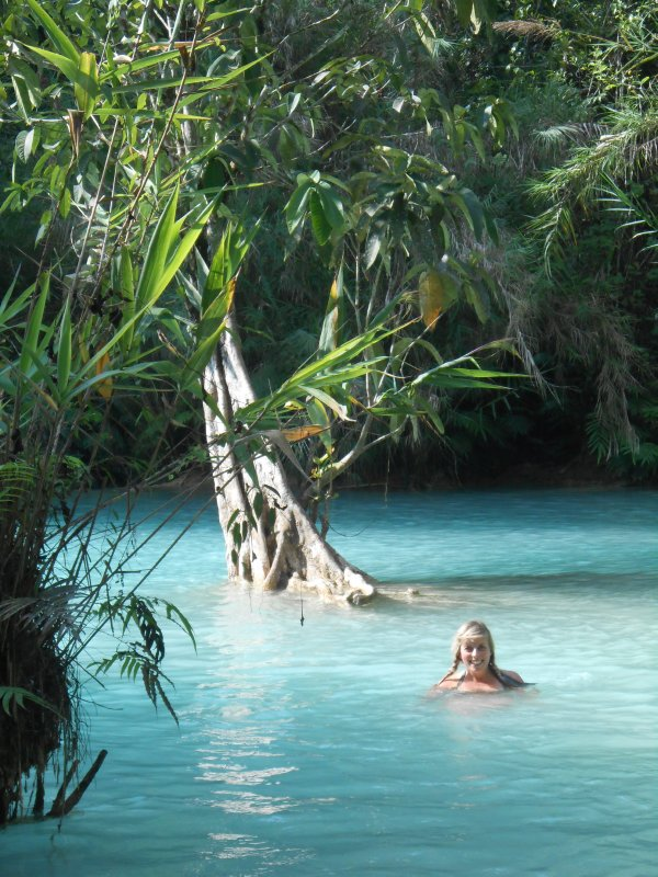 Jo enjoying the freezing cold blue pools!