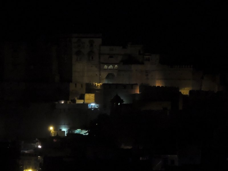 Jaisalmer Fort by night - the view from our rooftop restaurant