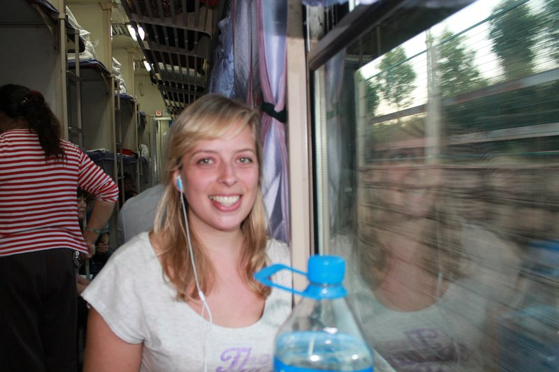 Jo on the train to Guilin from Kunming