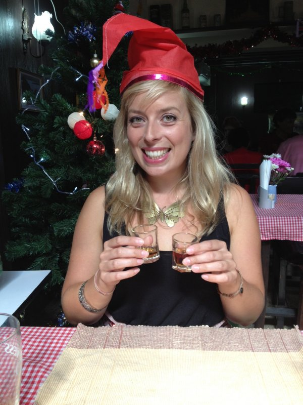 Jo with Christmas sherry