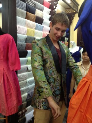 Fancy coat modelled by Felix, Hoi An