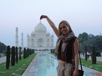 Tammy being a child at the Taj Mahal!!