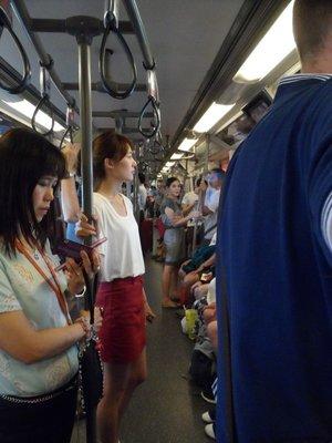 Bangkok Sky Train during rush hour