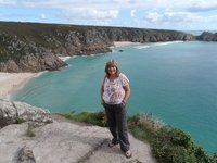 Diane, with Porthcurno as backdrop