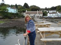 Diane on the Pandora Inn pontoon