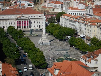 Looking down over Rossio Square