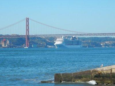 Tight Squeeze Going Under the 25 de Abril Bridge in Lisbon