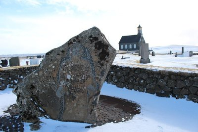 Carving outside Hvalsnes Church, Iceland