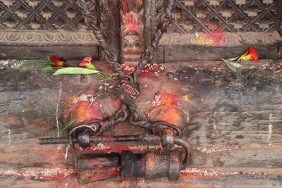 Locks closing the chamber of Nyatapola's secret deity Siddhi Lakshmi