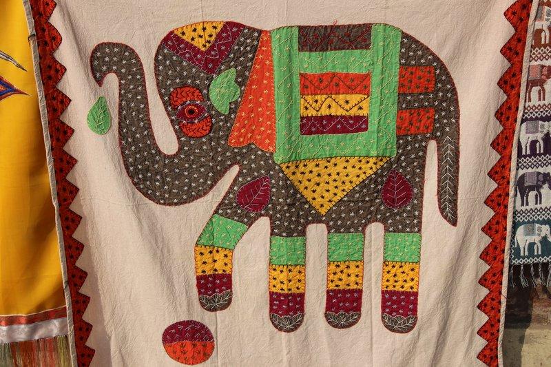 Elephant applique blanket
