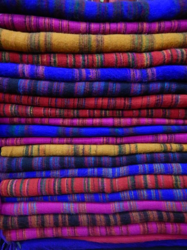Colourful yak wool blankets