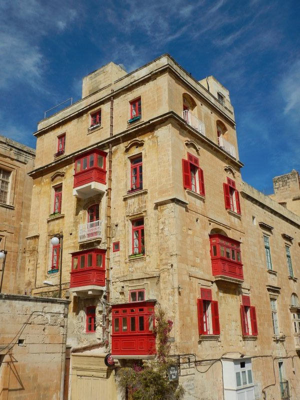 Red Shuttered Building Valletta