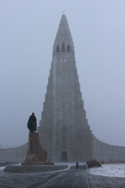 The Hallgrimskirkja in a snow storm