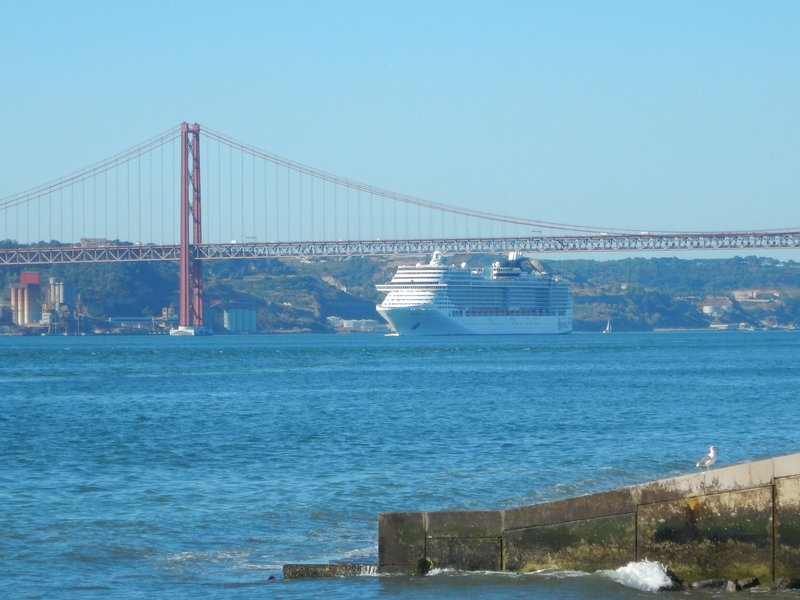 Tight Squeeze Going Under the 25 de Abril Bridge in Lisbon