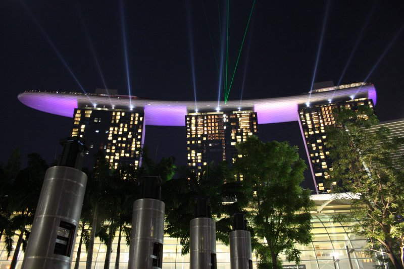 lasers over Marina Bay