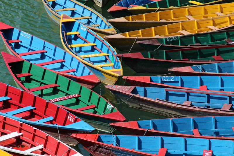 Colourful boats in Pokhara