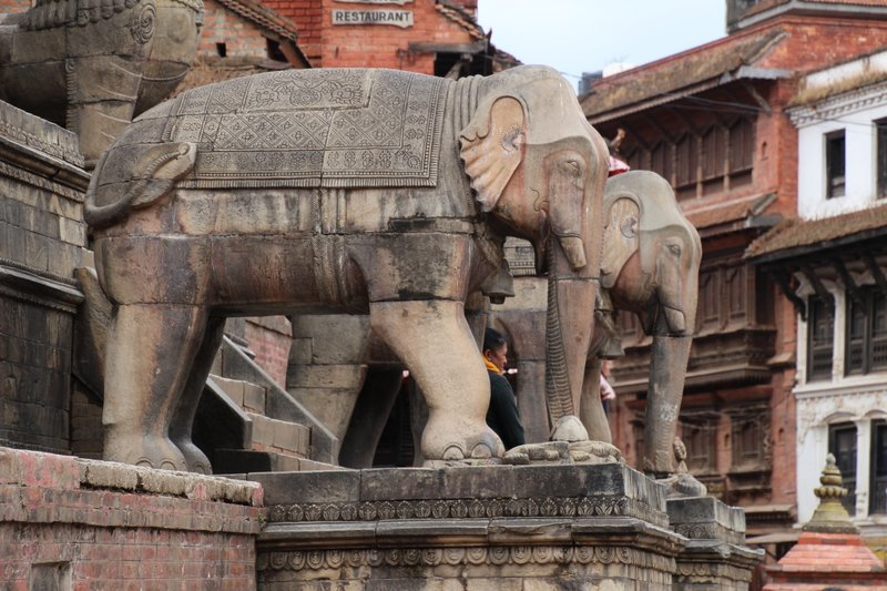 Elephants on the steps of the Nyatapola Temple