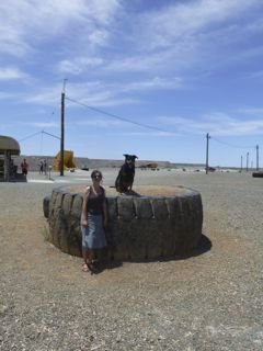 A big tyre and a little Mum