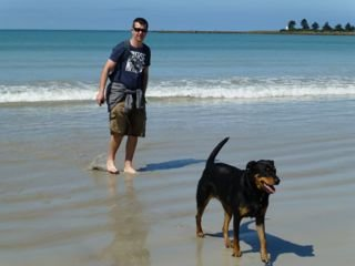 Me and Dad at Port Fairy beach