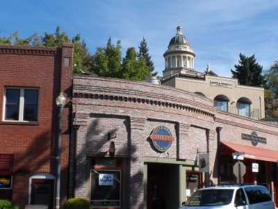 Auburn is one of the gold-rush towns built into the hills of Placer County, CA. The courthouse is atop the hill.