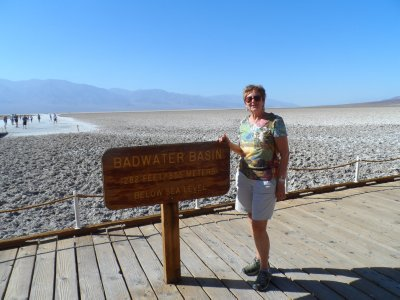 At the lowest point in the western hemisphere -- surrounded by mountains, yet 280 ft. below sea level.