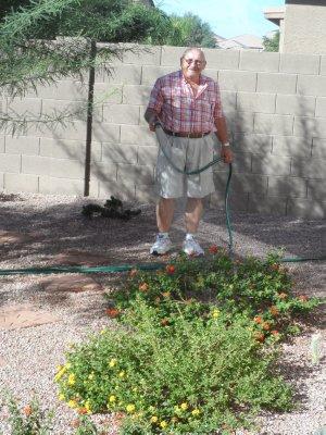 Bill cools down their backyard greenery!