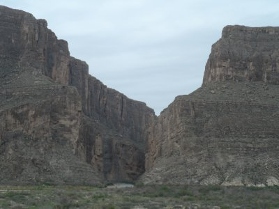 A break in the wall, Santa Elena Canyon, is one of 3 canyons of the river, is popular for river rafting.