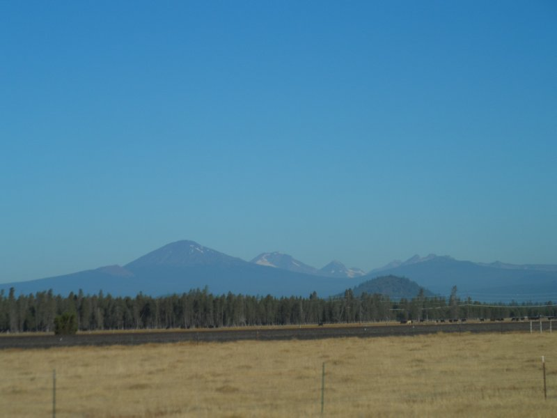 The Cascade range as we were leaving Bend had a haze from forest fires north in Sisters, OR