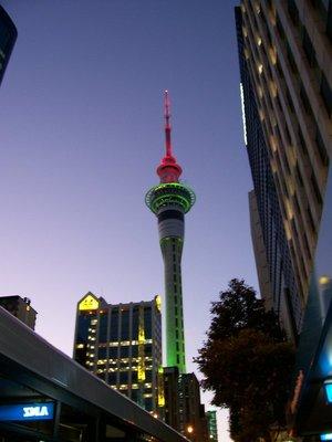 Auckland Skytower lit
