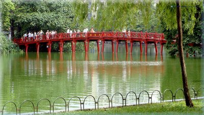 Huc Bridge in Hoan Kiem Lake