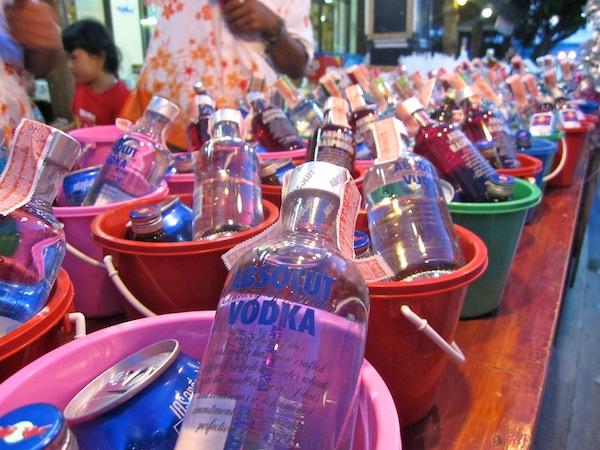 Alcohol buckets, Koh Pha Ngan Thailand