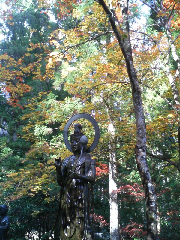 Bronze Buddha in the leaves