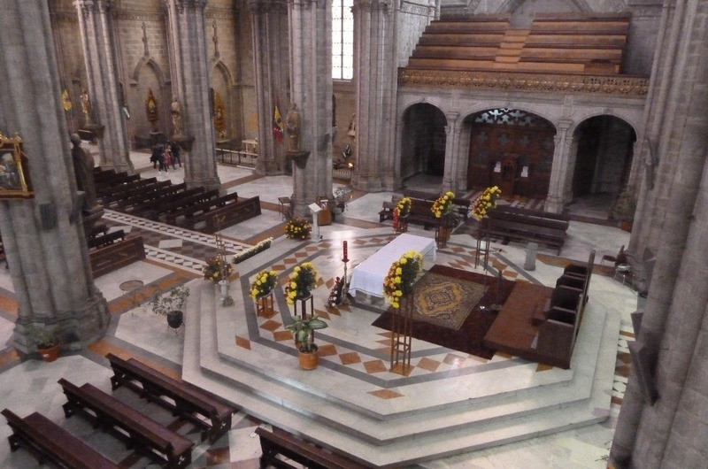 View of altar from above, Quito, Basilica
