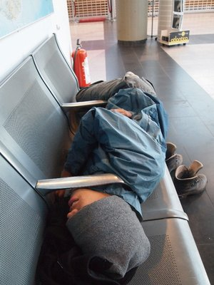 Well, this was all the kind of sleep we were allowed to get at the Keflavik International Airport. They keep it pretty cold in there, too.