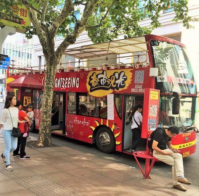 Hop on and Off Bus outside of Forever 21 in Shanghai