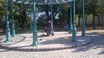 Playing the hurdy gurdy, Budapest, Hungary