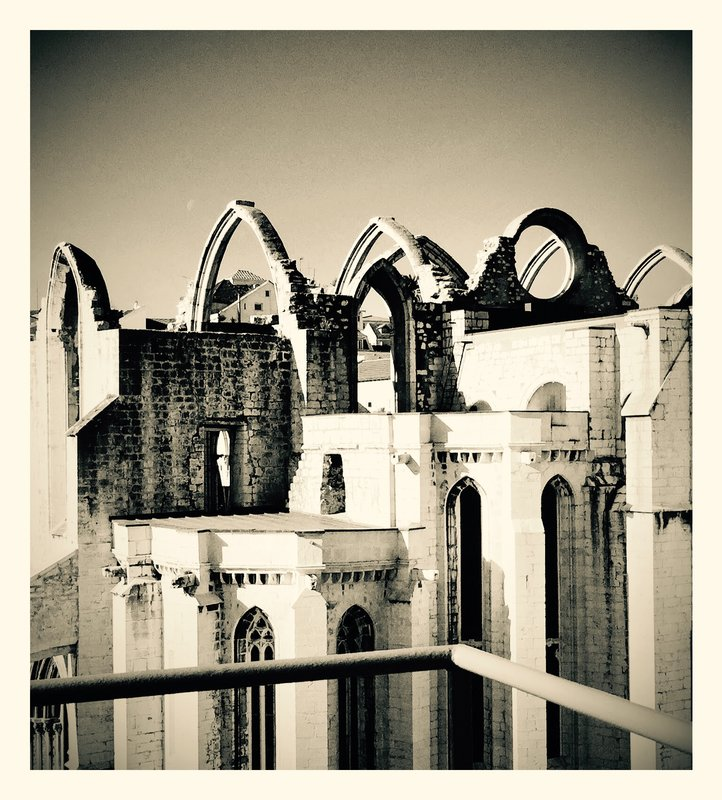 Roofline of Carmo Convent Lisbon Portugal