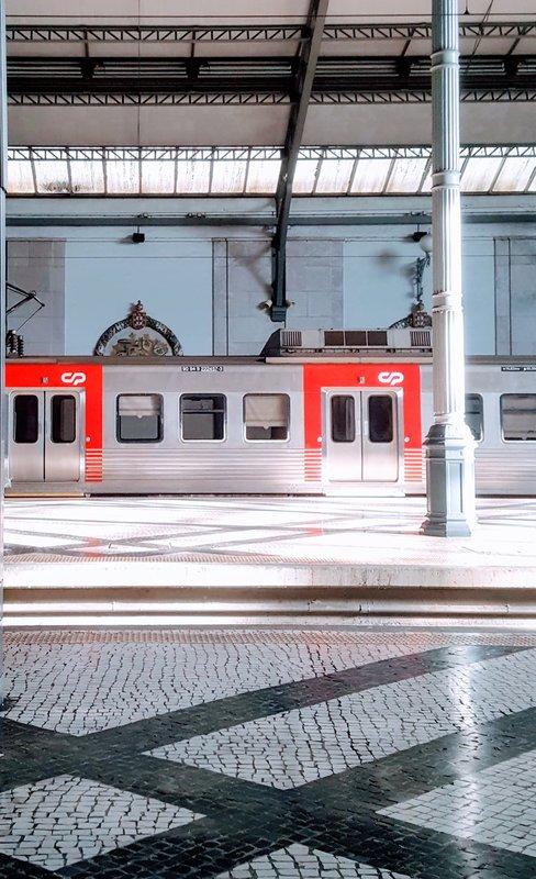Train at Rossio Station Lisbon