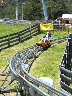 Abby at the end of the Imst Alpine Coaster